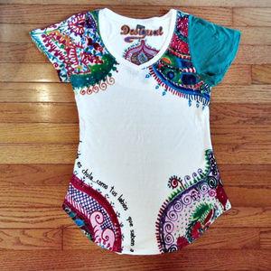 DESIGUAL Soft Knit Top - Batik Print - Size S